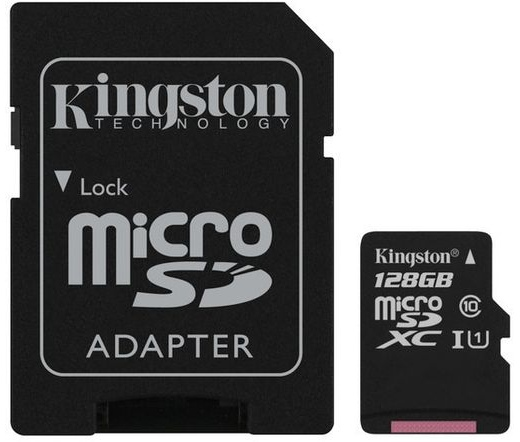 Kingston micro SD kártya, SD adapterrel. CL10. 128 GB