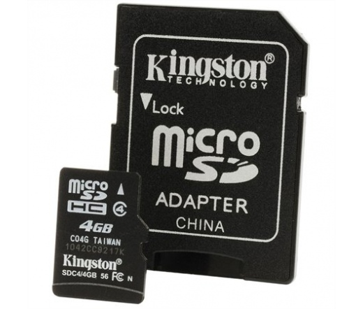 Kingston micro SD kártya, SD adapterrel CL4. 4 GB