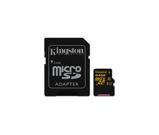 Kingston micro SD kártya, SD adapterrel. CL10. 64 GB