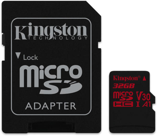 Kingston micro SD kártya, V30, 100 MB/s, 4K Ultra HD. 32 GB