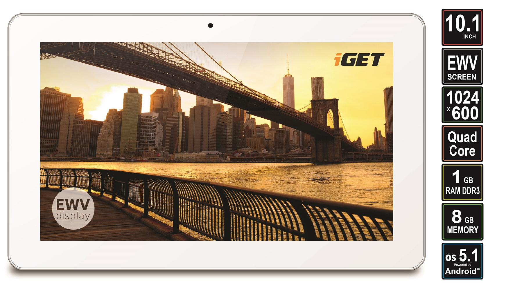 iGET SMART S100 tablet. 10,1 col, 1,3GHz Quad-Core processzor, Android 5.1, 1024 x 600